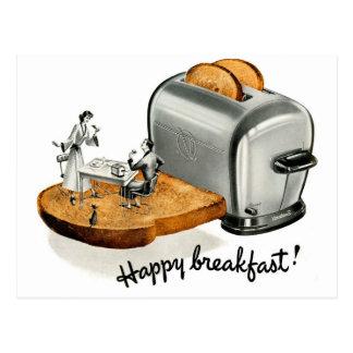 Tostada 'Breakfast feliz del desayuno del vintage  Tarjeta Postal