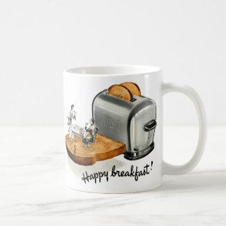 Tostada 'Breakfast feliz del desayuno del vintage Taza Clásica