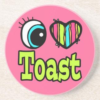 Tostada brillante del amor del corazón I del ojo Posavasos Personalizados