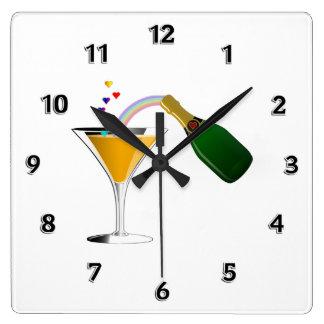 Tostada de Champán Reloj Cuadrado