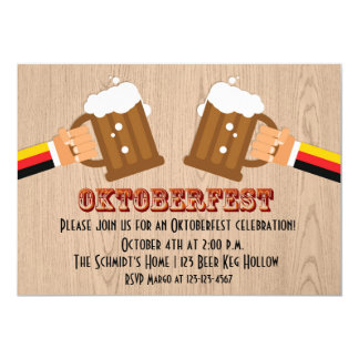 "Tostada de la cerveza de Oktoberfest Invitación 5"" X 7"""
