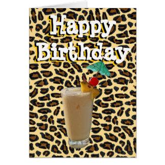 Tostada de la diversión de la piel del leopardo tarjeta de felicitación