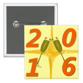 Tostada del Año Nuevo 2016 Pin Cuadrado