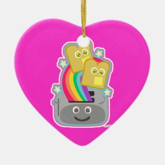 Tostada del arco iris de Kawaii Adorno Navideño De Cerámica En Forma De Corazón