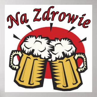 Tostada del Na Zdrowie con las tazas de cerveza Posters