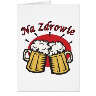 Tostada del Na Zdrowie con las tazas de cerveza Tarjeta De Felicitación