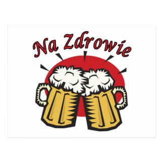 Tostada del Na Zdrowie con las tazas de cerveza Tarjeta Postal