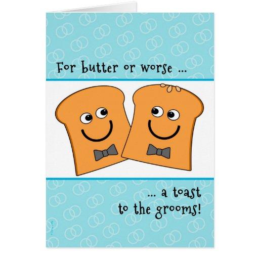 Tostada divertida de dos de los novios enhorabuena tarjeta