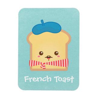 tostada francesa linda con el gorra azul de la boi imán de vinilo