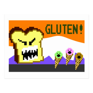 Tostada la amenaza del gluten estilo de 8 bits tarjetas postales