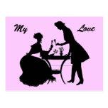 Tostada para amar la postal romántica de los pares