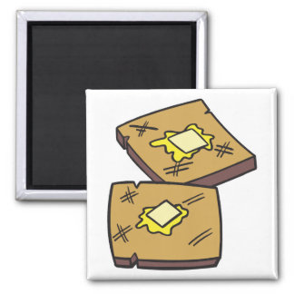 tostada untada con mantequilla imán cuadrado