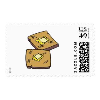 tostada untada con mantequilla sello