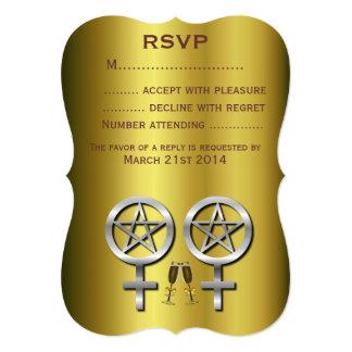 "Tostada Wiccan lesbiano Handfasting RSVP de Invitación 5"" X 7"""