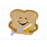 Tostada y mantequilla tarjeta postal