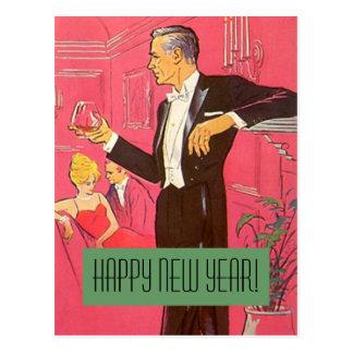 Tostadas del caballero de la Feliz Año Nuevo de la Postal