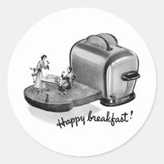 Tostadora 'Breakfast feliz del desayuno del Pegatina Redonda