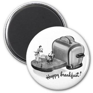 Tostadora 'Breakfast feliz del desayuno del vintag Imán Redondo 5 Cm