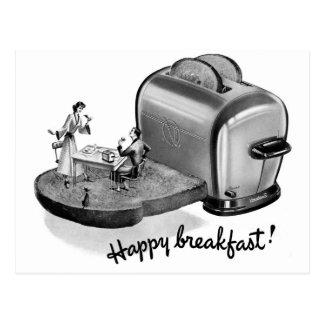 Tostadora 'Breakfast feliz del desayuno del vintag Postales