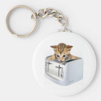 Tostadora del gato llavero redondo tipo pin