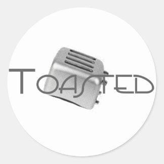 Tostadora retra - B&W gris tostado Pegatina Redonda