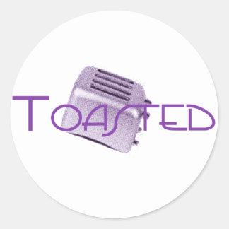 - Tostadora retra - púrpura tostada Pegatina Redonda