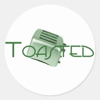 - Tostadora retra - verde tostado Pegatina Redonda