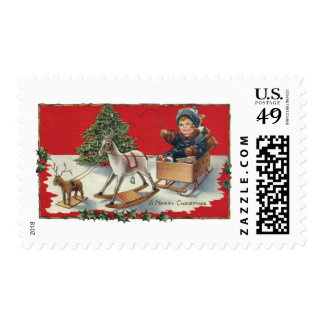 Tot Aboard Pretend Sleigh with Pretend Reindeer Postage