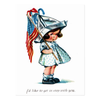 Tot Ready for Independence Day Parade Postcard