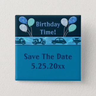 Total Birthday Boy In Blue Save Date Button