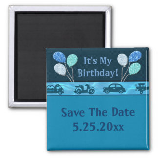 Total Birthday Boy In Blue Save Date Fridge Magnets