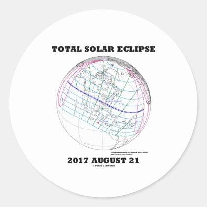 Total Solar Eclipse 2017 August 21 North America Classic Round Sticker
