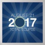 Total Solar Eclipse 2017 - Blue Design Poster