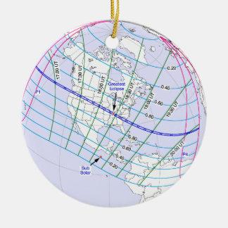 Total Solar Eclipse 2017 Global Path Ceramic Ornament