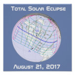 Total Solar Eclipse 2017 Global Path Poster