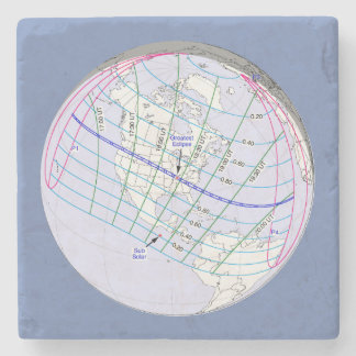 Total Solar Eclipse 2017 Global Path Stone Coaster