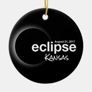Total Solar Eclipse 2017 - Kansas Ceramic Ornament