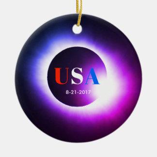 Total Solar Eclipse 2017 - USA Ceramic Ornament
