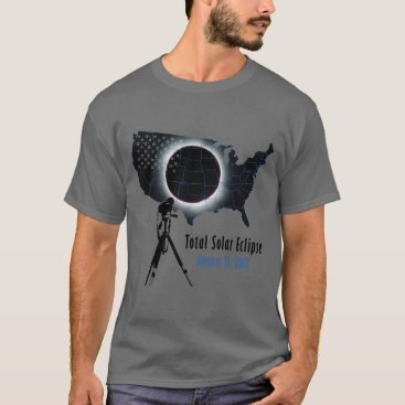 USA Themed Total Solar Eclipse 2017 with transparent USA map T-Shirt