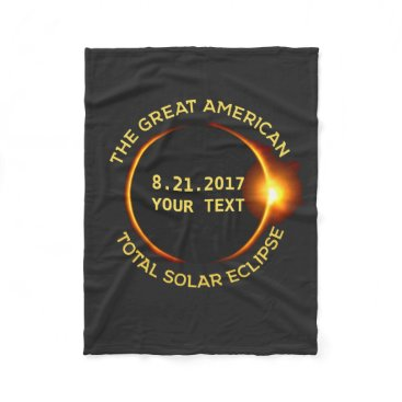 USA Themed Total Solar Eclipse 8.21.2017 USA Add Your State Fleece Blanket