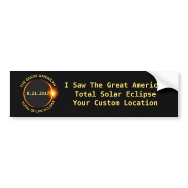 USA Themed Total Solar Eclipse 8.21.2017 USA Custom Location Bumper Sticker