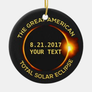 Total Solar Eclipse 8.21.2017 USA Custom Text Ceramic Ornament