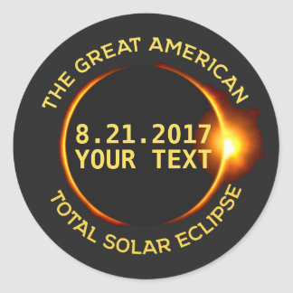 Total Solar Eclipse 8.21.2017 USA Custom Text Classic Round Sticker