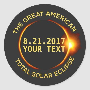 USA Themed Total Solar Eclipse 8.21.2017 USA Custom Text Classic Round Sticker