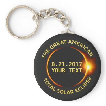 USA Themed Total Solar Eclipse 8.21.2017 USA Custom Text Keychain