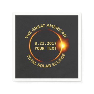 USA Themed Total Solar Eclipse 8.21.2017 USA Custom Text Napkin