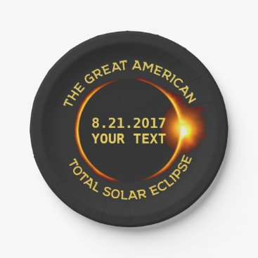 USA Themed Total Solar Eclipse 8.21.2017 USA Custom Text Paper Plate