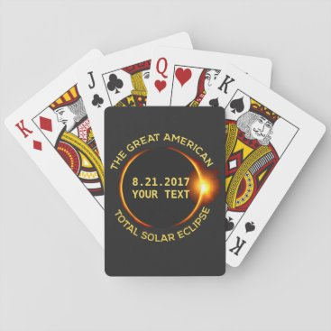 USA Themed Total Solar Eclipse 8.21.2017 USA Custom Text Playing Cards