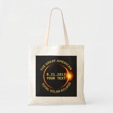 USA Themed Total Solar Eclipse 8.21.2017 USA Custom Text Tote Bag