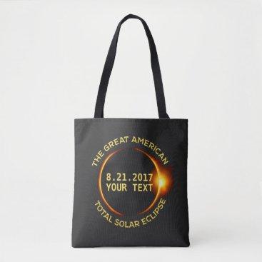 USA Themed Total Solar Eclipse 8.21.2017 USA Custom Text Tote Bag